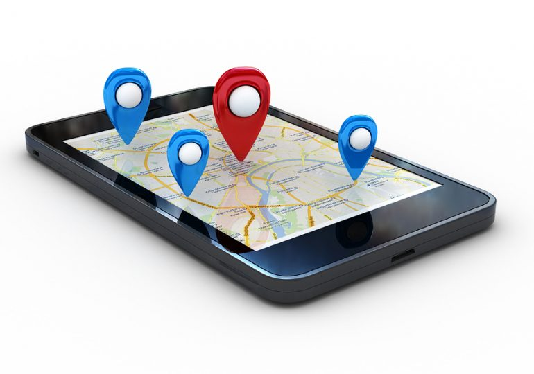 Smart phone with map and geolocation. 3d rendering image with cl